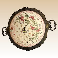 Antique Porcelain Tray With Metal Frame With Butterfly, Bee and Flowers