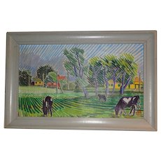 Original Oil Painting Of A Scandinavian Farm, Signed and Dated By Sigfred Mai, Circa 1950
