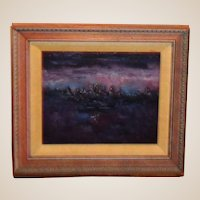 "M. J. Holm Original Oil Painting ""Night - London Airport"""