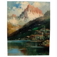 Original Antique Oil Of Seaside Mountain Village, Continental School