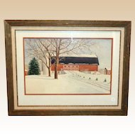 Original Winter Scene Watercolor,  Untitled, Signed by Artist, Marion Wallstrom