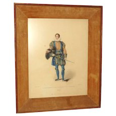 """Antique Color Lithograph """"A Gentleman of his Majesty's Privy Chamber"""" from Larry Hagman Estate"""