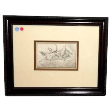 Alexander Orlowski (Polish, 1777-1832) Original Drawing Hunting Dogs, Signed and Dated, 1819