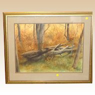 """P. Sinclair """"When A Tree Falls In The Forest"""" Original Watercolor, Signed"""