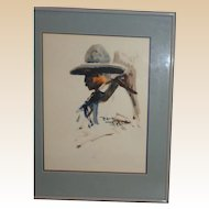 Original Artwork by Buck Taylor Gifted to Larry Hagman, With Personal Note
