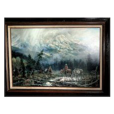 Mike Kopriva (20th Century) Signed Large Original Oil Painting From Jackson Hole, Wyoming, c 1982