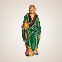 Antique Buddhist Monk Mudman Holding A Peach, Symbolizing The Wish For a Long and Healthy Life, C 1900