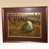 """""""Boulder In The Forest"""" Large Signed Original Painting By P. Sinclair"""