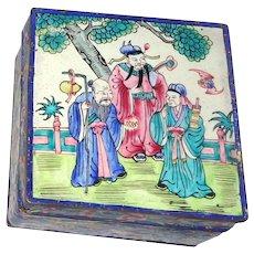 Beautiful Enamel On Copper Signed Lidded Box, Chinese