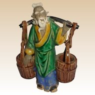 Chinese Mudman Sage With Yoke and Baskets (For Calligraphy Brushes)