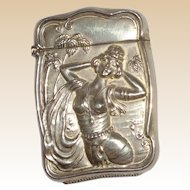 Antique Bristol Shaped Match Safe (Vesta) With Exotic Woman, Palm Trees, Circa 1895