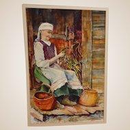 "Lori Fronczak (American 20th Century) ""Harvest Tide"" Original Signed Watercolor"