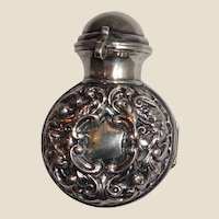 Antique British Sterling Silver Perfume Bottle Holder, With The Perfume Bottle And Stopper
