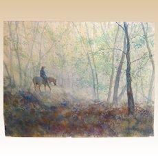 "Todd Reifers (American 20th Century) Large Original Watercolor ""Silent Rain"""