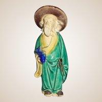 Chinese Mudman Small Standing Sage With Fish, Representing Abundance