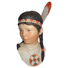 """CYBIS Porcelain """"Running Deer"""" Bust Of Indian Girl"""