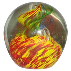 Large Dramatic Art Glass Paperweight With Vivid Colors,
