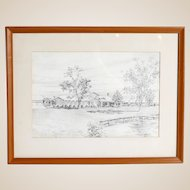 John Moll (American 1909-1999) Original Signed Drawing, Matted, Framed, Signed