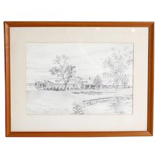 John Moll (American 1909-1999) Original Signed Drawing, Matted, Framed, Signed