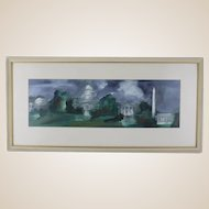 """Original Signed Watercolor - """"Landmarks Of Washington, D.C."""" - White House, Washington Monument, Capitol, and Lincoln Memorial"""