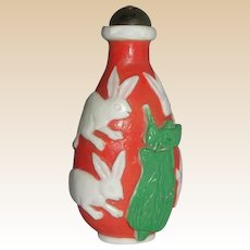 Chinese Overlay Carved Glass Snuff Bottle With Rabbits, Grasshopper and Plant, Republic Period
