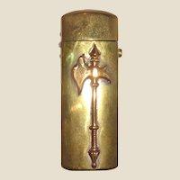 Push Button Brass Match Safe Decorated With An Axe, Circa 1890/1910