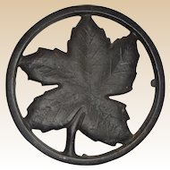 Authentic Ober Cast Iron Maple Leaf Trivet, Four Legs,  Circa 1930