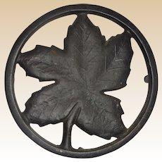 Authentic Ober Cast Iron Maple Leaf Trivet, Four Legs,  Circa 1930