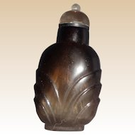 Carved Grey Quartz Snuff Bottle With Rock Crystal Lid