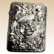 Antique Sterling Silver La Pierre Match Safe (Vesta), Very Interesting Man's Head In High Relief