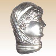 SARAH BERNHARDT Antique Sterling Silver Howard Figural Match Safe (Vesta),