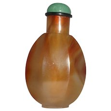 Carved Agate Melon Form Chinese Agate:Snuff Bottle