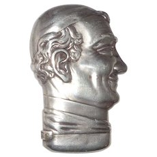 POPE PIUS IX - Sterling Silver Howard Figural Match Safe, Circa 1900