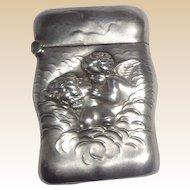 Cupid Kissing Venus - Unger 925 Sterling Silver Match Safe (Vesta) Circa 1900