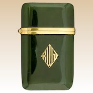 TIFFANY -  JADE and 14K Gold Match Safe (Vesta), Circa 1920