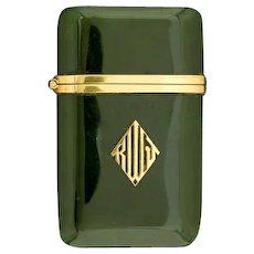TIFFANY -  JADE and 14K Gold Match Safe (Vesta), Circa 1920