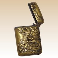 Japanese Brass Match Safe With Repousse Dragon, Circa 1900