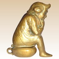 Gnome Sitting On A Chamber Pot Antique Brass Match Safe (Vesta) C. 1890