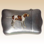 Antique Sterling And Enamel Match Safe (Vesta) With Hunting Dog, C. 1900