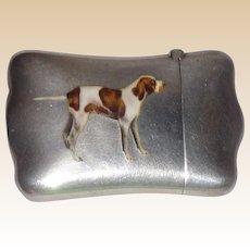 Antique Sterling And Enamel Match Safe (Vesta) With Hunting Dog, C. 1900