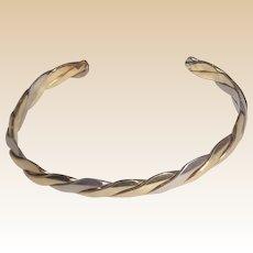LANCOME Paris Vermeil and Sterling Cuff Bracelet