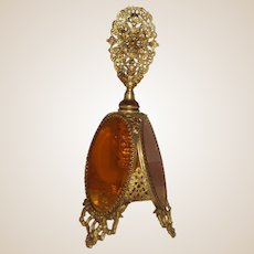 Large Amber Glass and Filigree Scent Bottle