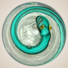 Murano Art Glass Paperweight With Yellow-Eyed Snake On Swirled Lacy Ground