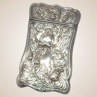 Sterling Silver Antique Blackinton Match Safe (Vesta) With Repousse Floral Decoration