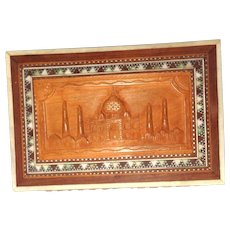 Carved and Inlaid Wood Dresser Box, Trinkwt Box With The Taj Mahal, Greatest  Monument to Love