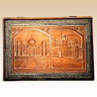 Carved And Inlaid Wood Dresser Or Jewelry Box With Scenes Of The Taj Mahal and The Red Fort