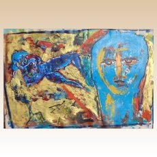 """NEITH NEVELSON (American, Born 1946 - )  Original Oil On Canvas """"Blue Nude And Face"""""""