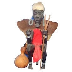 African Hand Carved Large Ebony Witch Doctor