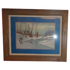 """Native American Original Pastel """"Waiting For Spring"""" Signed"""