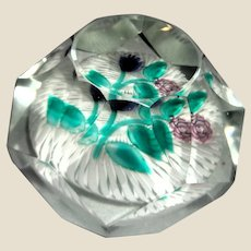 French Art Glass Signed Bouquet Paperweight With TWENTY-FOUR Facets